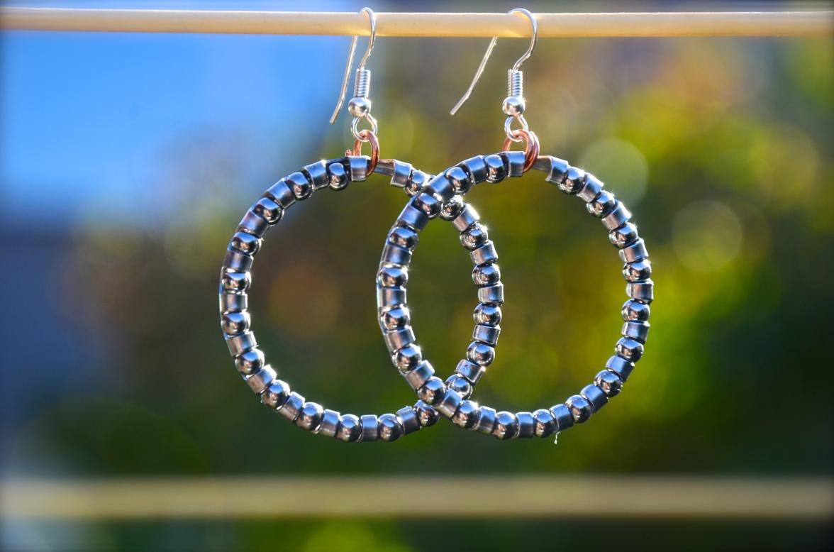 Ball Bearing Hoop Earrings